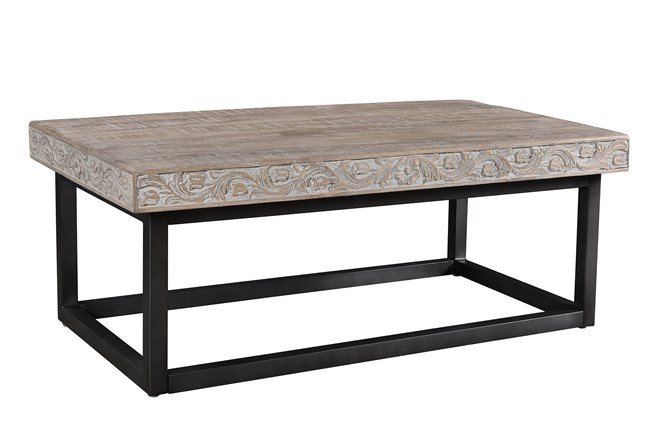 Grey Wash Carved Coffee Table  - 360