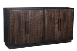 Dark Brown Wood + Metal 4 Door Sideboard