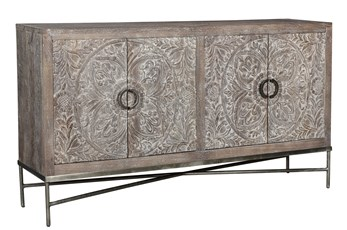 Grey Wash Hand Carved Sideboard On Stand