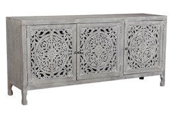 Dark Mango Wood 3 Door Carved Sideboard