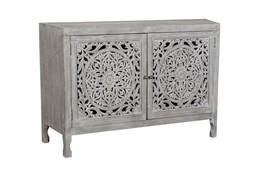 Dark Mango Wood 2 Door Carved Cabinet