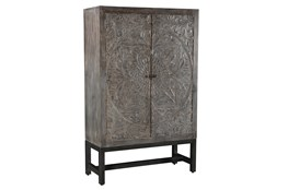 Dark Grey Wash Hand Carved Bar Cabinet