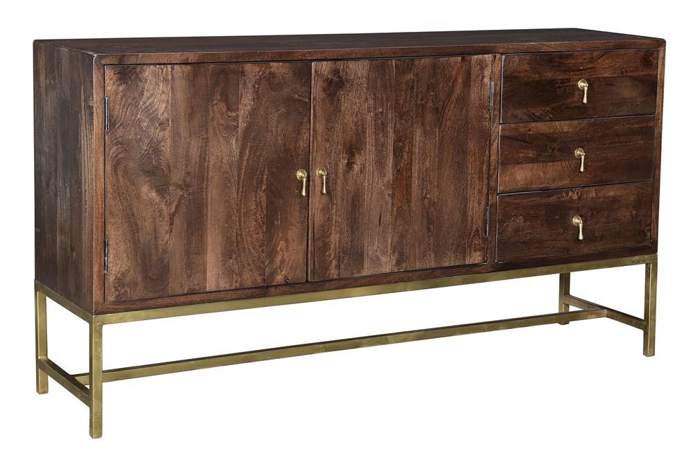 "Dark Brown 2 Door 3 Drawer 67"" Sideboard"