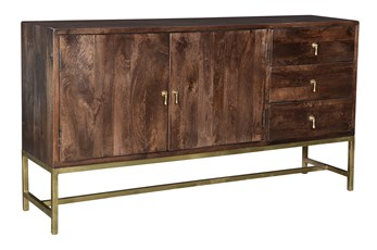 Dark Brown 2 Door 3 Drawer Sideboard