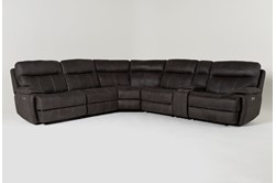 "Denali II Charcoal 6 Piece 138"" Reclining Sectional With 2 Power Headrests & Usb"