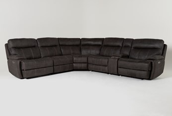 """Denali II Charcoal 6 Piece 138"""" Reclining Sectional With 2 Power Headrests & Usb"""
