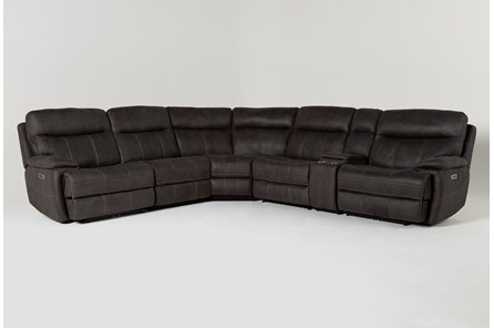 Denali II Charcoal 6 Piece Reclining Sectional With 2 Power Headrests & Usb