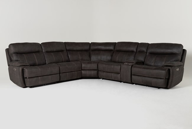 """Denali II Charcoal 6 Piece 138"""" Reclining Sectional With 2 Power Headrests & Usb - 360"""