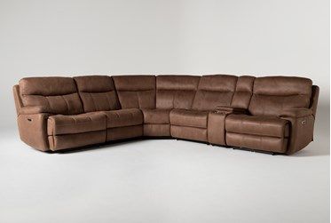 """Denali II Brown 6 Piece 138"""" Reclining Sectional With 2 Power Headrests & Usb"""