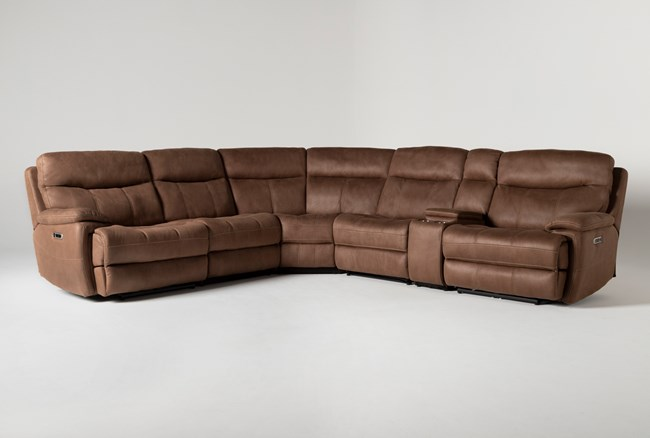 """Denali II Brown 6 Piece 138"""" Reclining Sectional With 2 Power Headrests & Usb - 360"""