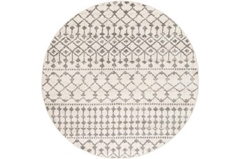 63 Inch Round Rug-Dot Geometric Grey