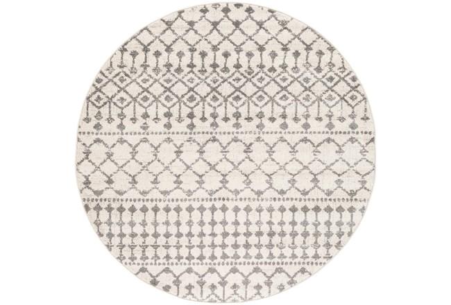 63 Inch Round Rug-Dot Geometric Grey - 360