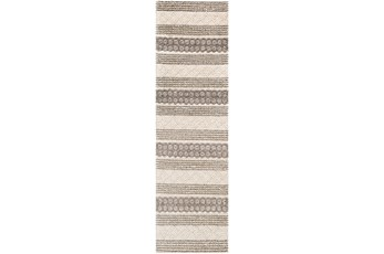 30X96 Rug-Textural Stripe Grey/Ivory