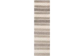 30X96 Rug-Textural Stripe Grey/Ivory