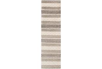 "2'5""x8' Rug-Textural Stripe Grey/Ivory"