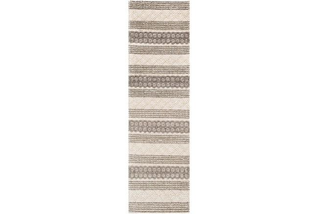 "2'5""x8' Rug-Textural Stripe Grey/Ivory - 360"