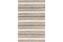 36X60 Rug-Textural Stripe Grey/Ivory