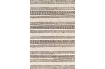 36X60 Rug-Textural Stripe Grey/Ivory