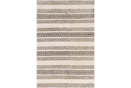 "5'x7'5"" Rug-Textural Stripe Grey/Ivory"