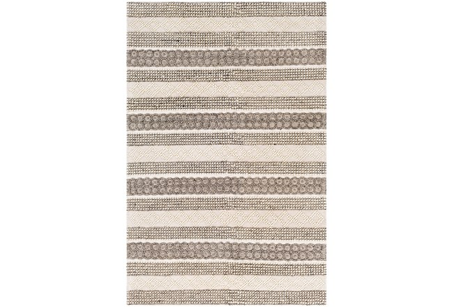 "5'x7'5"" Rug-Textural Stripe Grey/Ivory - 360"