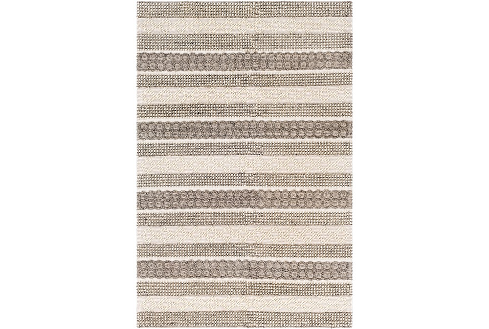 96X120 Rug-Textural Stripe Grey/Ivory