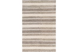96X120 Rug-Textural Stripe Grey/Ivory