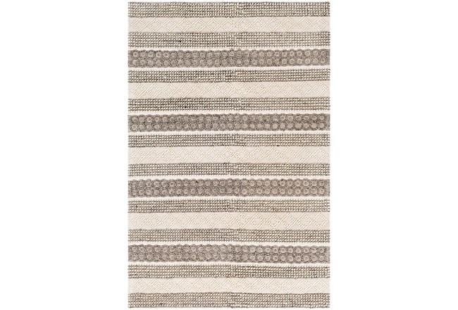 96X120 Rug-Textural Stripe Grey/Ivory - 360