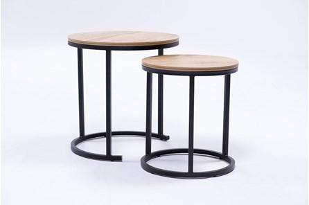Petra Oak 2 Piece Nesting Accent Tables