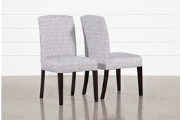 Garten Denim Dining Side Chairs With Espresso Finish Set Of 2