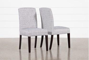Garten Denim Dining Side Chairs With Espresso Finish Set Of 2
