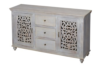 "White Wash 2 Door 3 Drawer 64"" Sideboard"