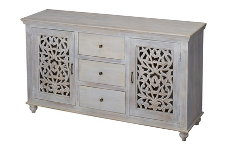 White Wash 2 Door 3 Drawer Sideboard
