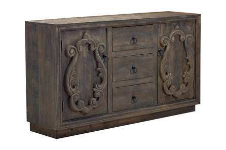 Antique Brown Carved Door Sideboard