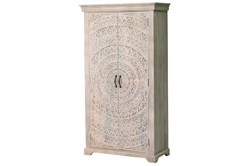 White Wash Hand Carved Lace Bar Cabinet