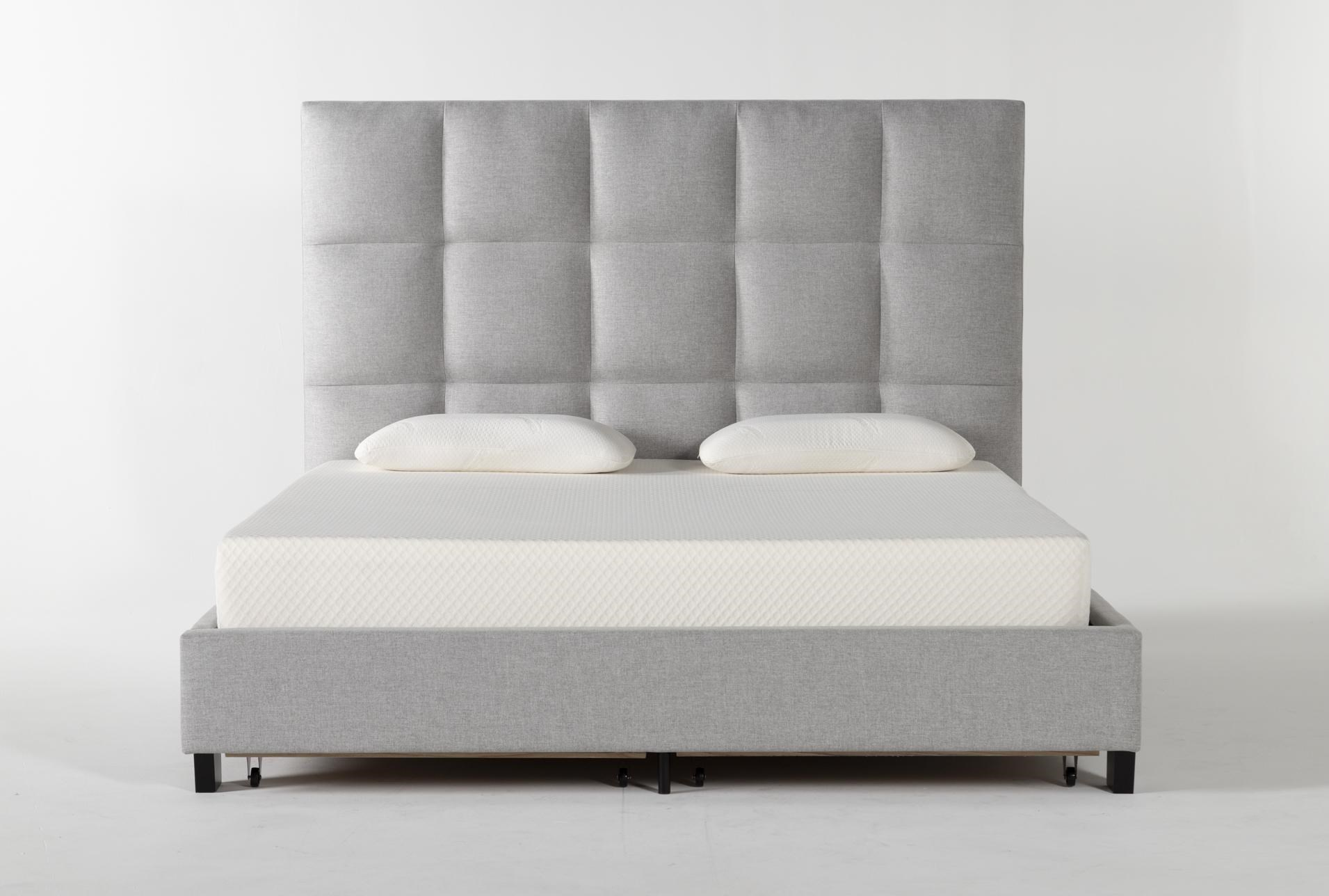 Boswell Eastern King Upholstered Panel Bed With Storage Living Spaces