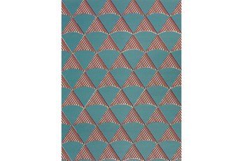 "5'1""x7' Outdoor Rug-Sails Aqua/Red"