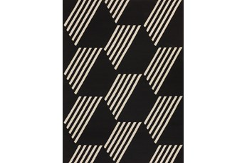 98X120 Outdoor Rug-Hex Black/White