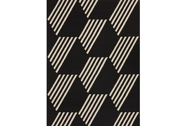"8'2""x10' Outdoor Rug-Hex Black/White"