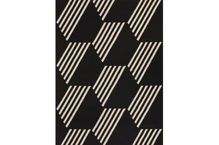 98X120 Rug-Hex Black/White