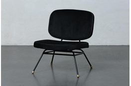 Black Velvet Brass Leg Chair