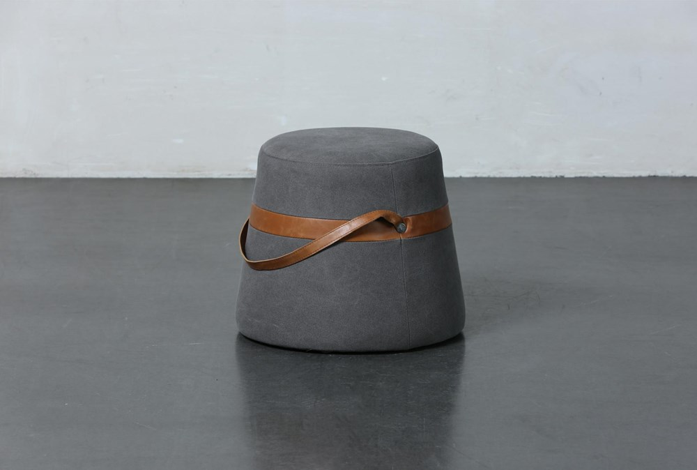 Grey Stool With Leather Handles