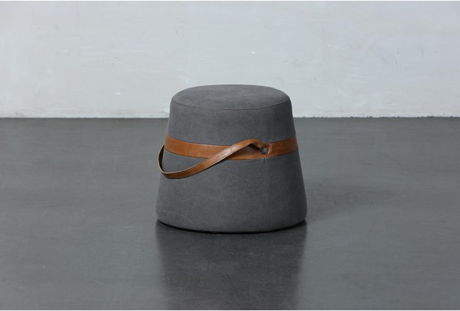 Grey Stool With Leather Handles  - 360