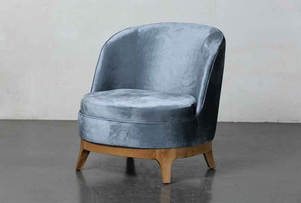 Midnight Velvet Curved Accent Chair