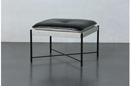 Black + White Upholstered Accent Ottoman
