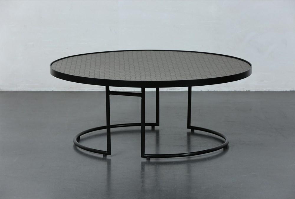 Black + Brown Metal Round Coffee Table