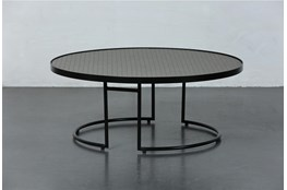 Black + Brown Metal Round Coffee Table