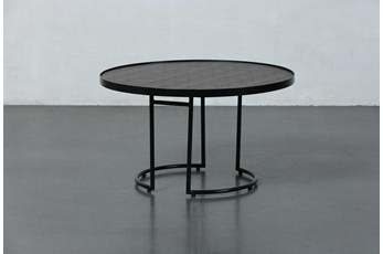 Black + Brown Metal Round Accent Table