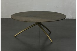 Dark Oak + Gold Tripod Round Coffee Table
