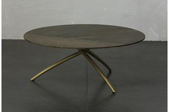 Dark Oak + Gold Tripod Round Coffee Table