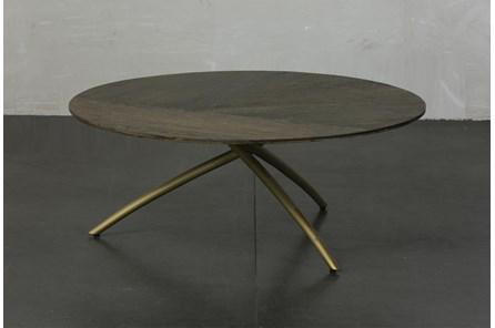 Dark Oak + Gold Tripod Round Coffee Table - Main